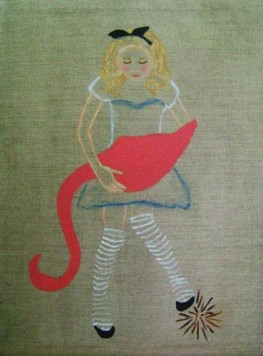 Games acrylic and oil on linen canvas Alice in Wonderland Flamingo