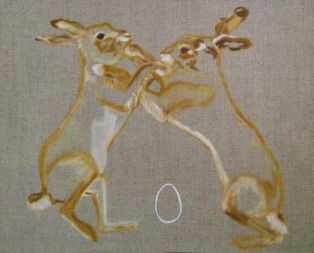 Boxing Hares 51.7 x 61.5 x 4.5 cm framed oil and silver on canvas