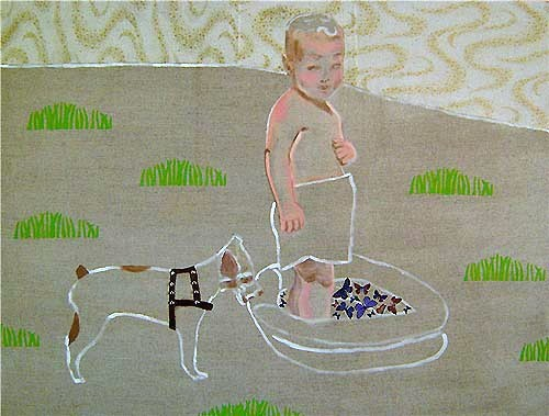 Happiness 91.5 x 122 x 4 cm acrylic, oil, fabric collage, studs (Boy in Paddling pool with Tippy)