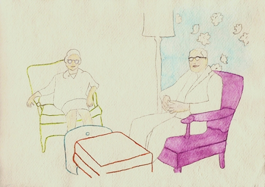 Grandparents 35 x 45 cm drawing with watercolour on paper Retro Vintage 1950s interior