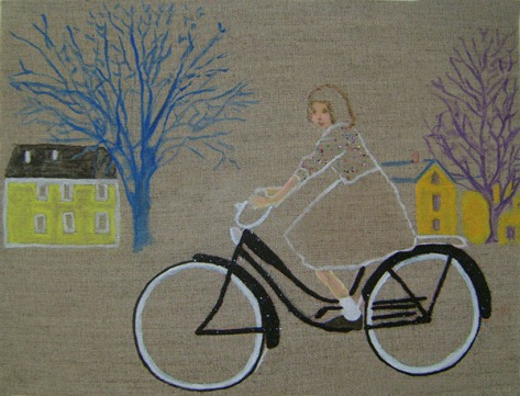Girl on Bike 30 x 40 x 4 cm Oil, Mixed Media on Linen Canvas