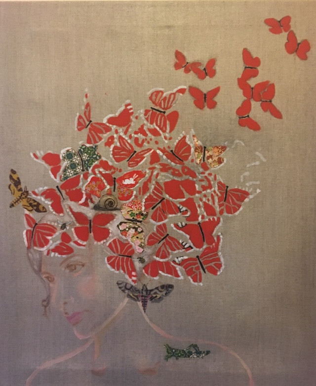 Butterfly Hair Day 65 x 55 x 2 cm oil and paper collage on linen canvas