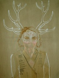 Mori Girl Japanese Forest Fashion 102 x 76 x 4 cm oil, acrylic, collage, silver, on linen canvas