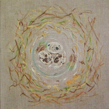 Spotted Quail Eggs in Nest oil on canvas 40 cm x 40 cm x 2 cm