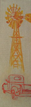 Windmill and Truck, 60 cm x 18 x 4 cm, oil on canvas